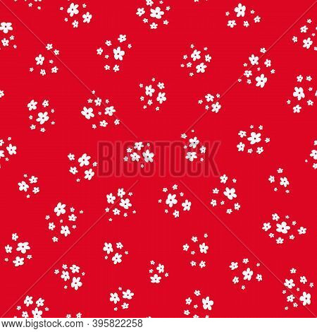 Vector Seamless Pattern With Small White Pretty Flowers On Red Background. Liberty Style Wallpapers.