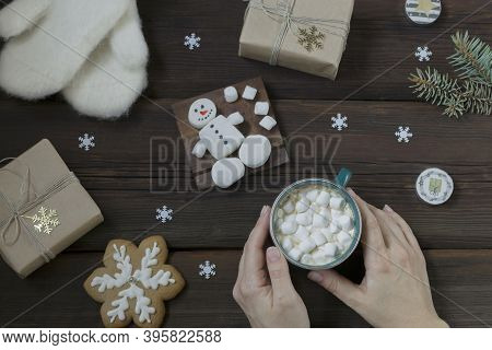 Female Hands Hold A Cup Of Hot Drink With Marshmallows. Warm White Mittens, New Year's Gift, Marshma