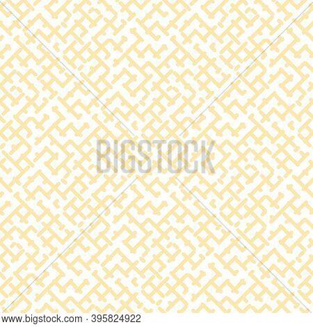 Vector Geometric Seamless Pattern. Stylish Modern Yellow And White Texture With Diagonal Crossing Li