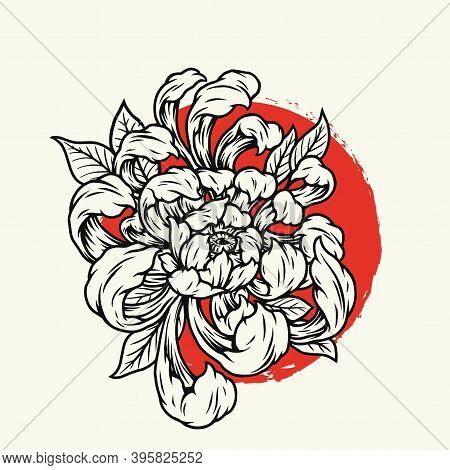 Blooming Chrysanthemum Flowers Template In Vintage Monochrome Style On Red Sun Background Isolated V