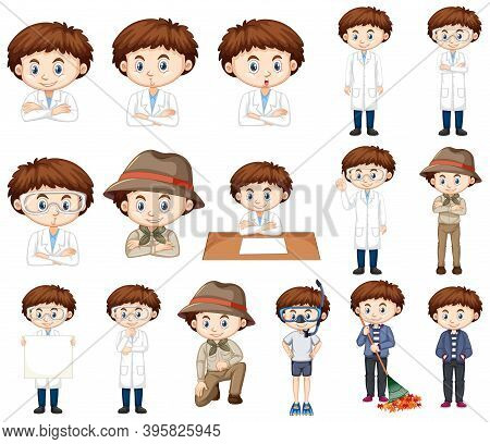 Boy In Science Gown In Many Poses