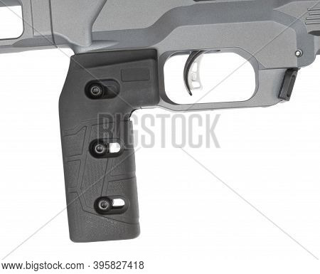 Pistol Style Grip On A Bolt Action Rifle Isolated On White
