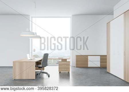 Side View Of Modern Ceo Office With White And Wooden Walls, Concrete Floor And Ceo Desk. 3d Renderin
