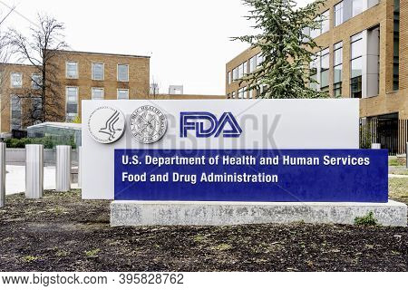Washington, D.c., Usa- January13, 2020: Fda Sign At Its Headquarters In Washington. The Food And Dru