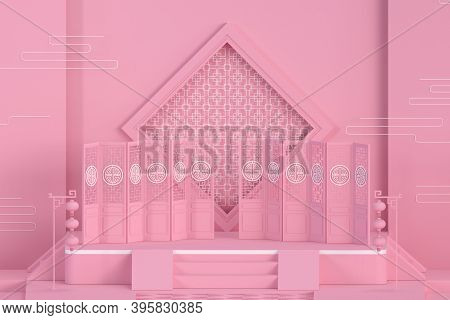 Empty Exhibition Stage With Chinese Style Background, 3D Rendering.