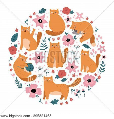 Funny Doodle Red Cats With Flowers In Circle Shape. Ideal For Print, Sticker Or Fabric Design. Hand