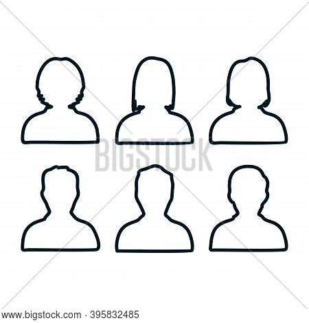 Man And Woman Icon Set. People Icon Set Isolated On White Background. People User Person Icon Collec