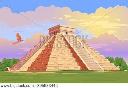 El Castillo (the Kukulkan Temple) Of Chichen Itza, Mayan Pyramid In Yucatan, Mexico. Vector Illustra