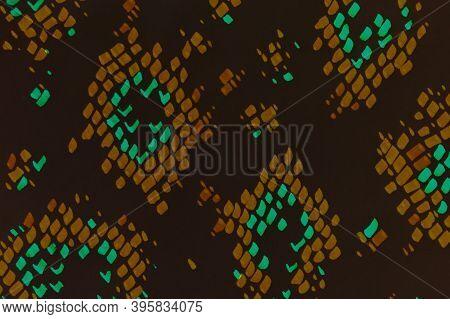 Predator Pattern. Black And Orange Color. Cobra Or Phyton Wild Print. Grunge Aquarelle Fabric Templa