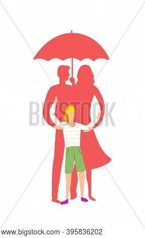 Family, Mom, Dad, A Child Are Standing Under An Umbrella. Life Insurance. Reliance Is A Family. Rain