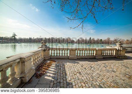 Terrace By The Lake In Buen Retiro Park In Madrid, Spain