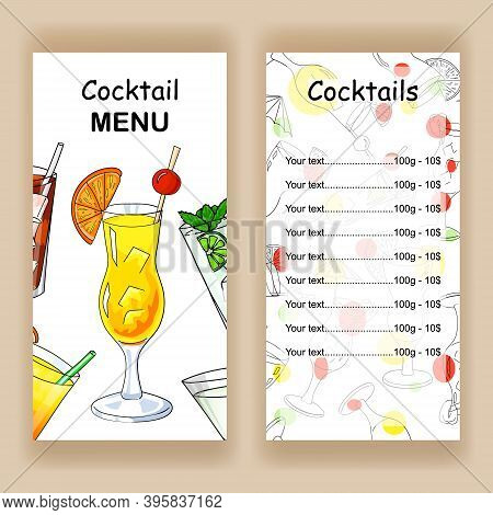 Design A Cocktail Menu. Menu Cover And Price. Colorful Illustration In Cartoon Style On A White Back