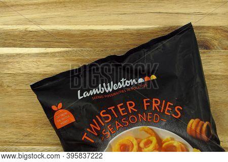 Zaandam, The Netherlands - November 21, 2020: Package Of Lamb Weston Twister Fries Against On A Kitc