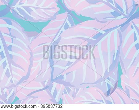 Painted English Rose Leaf Patterns Collection. Romantic Botanical Vector Background. Repeated Spring