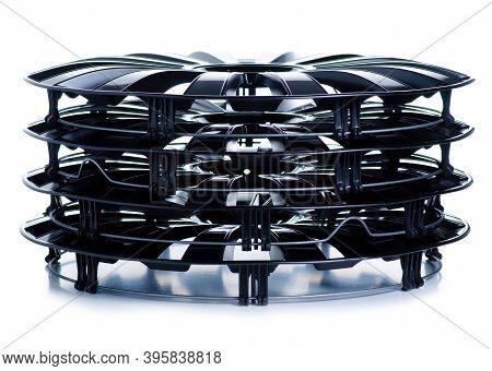 Car Plastic Black Wheel Cover On White Background Isolation