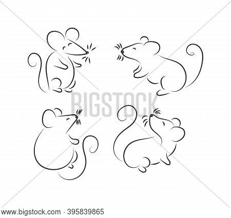 Illustration With A Mouse Or Rat. Black Doodle On White Background. Rat Logo Graffiti Hand Drawn Ico