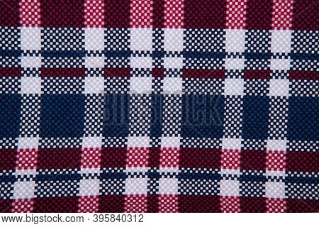 The Texture Of The Checkered Fabric - Top View And A Close-up Of A Piece Of Checkered Tablecloth
