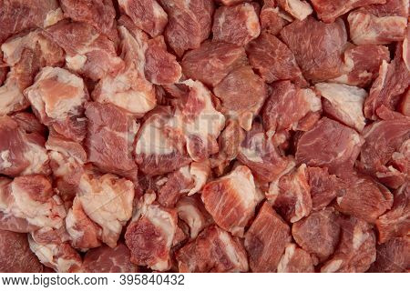 Raw Meat Texture - Top View And Close-up Of The Diced Pork Neck