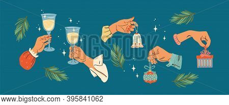 Christmas And Happy New Year Illustration. Set Of Male And Female Hands. Vector Design Template.