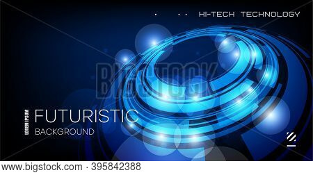 Abstract Technological Background. Futuristic Illustration Of High Computer And Communication Techno