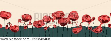 Abstract Poppy Flower Seamless Banner. Vector Eps 10. One Line Continuous Art. Easily Editable Vecto