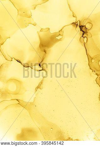 Watercolor Yellow Background. White Soft Paint. Golden Rough Splatter. Autumn Aquarel Wallpaper. Yel