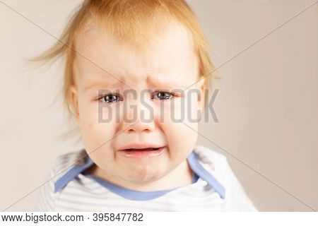 Little Baby Crying Portrait Close Up. Baby Upset, Tears, Crying