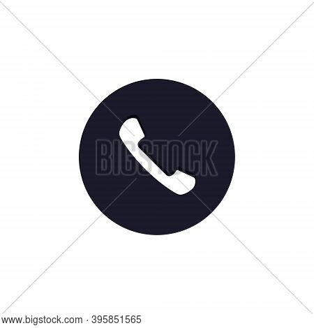 Phone Icon In Circle. Telephone Handset Vector Flat Symbol On White Background.