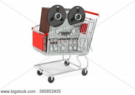 Reel-to-reel Tape Recorder Inside Shopping Cart, 3d Rendering Isolated On White Background