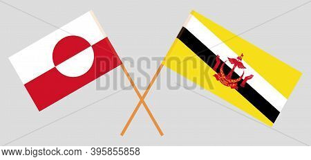Crossed Flags Of Brunei And Greenland. Official Colors. Correct Proportion. Vector Illustration