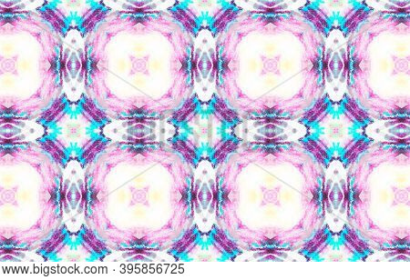 Traditional Seamless Motif Pattern. Artistic Ink Textured Motif. Traditional Print. Purple, Blue And
