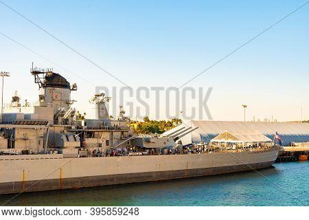 San Pedro, California - October 11 2019: Uss Iowa Battleship Museum Docked At Port Of Los Angeles Wo