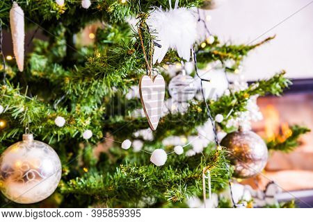 Christmas Decoration With Heart On Christmas Tree