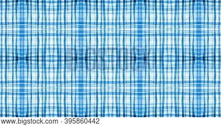 Plaid Fabric. White And Blue Picnic Texture. Seamless British Tile. Vintage Checkered Blanket. Trend