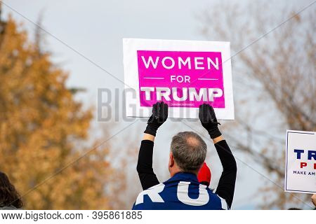 Helena, Montana / Nov 7, 2020: Protestor Holding Women For Trump Sign At Stop The Steal Rally At The