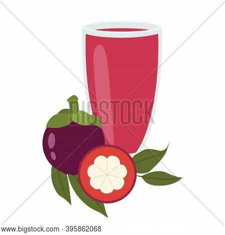 A Glass Of Mangosteen Juice. Healthy Food. Vector Illustration Eps.