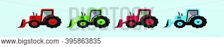 Set Of Snow Tractor With Snowdrift In Plow. Cartoon Icon Design Template With Various Models. Modern