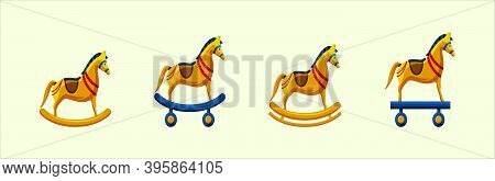Set Of Trojan Horse. Cartoon Icon Design Template With Various Models. Modern Vector Illustration Is