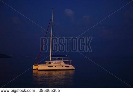 Touristic view of Makarska resort on the Dalmatian Coast, Croatia, Europe