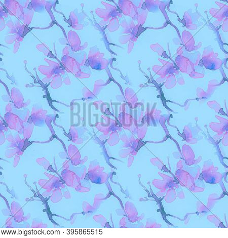 Blossom Cherry Art. Seamless Sakura Painting. Blue Japanese Branch Drawing. Modern Spring Background