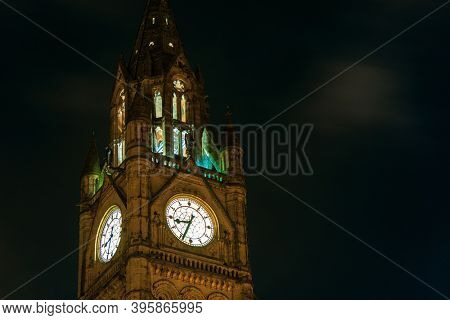 Manchester Township Town Hall clock tower closeup view in England, United Kingdom