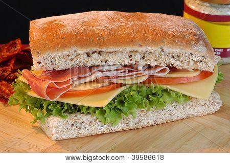 Prosciutto sandwich. poster