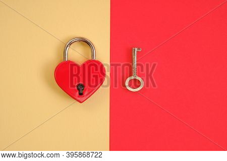 Love And Relationship Concept.heart Locked. Valentine's Day. Lock And Key. Lock Red Heart Shaped And
