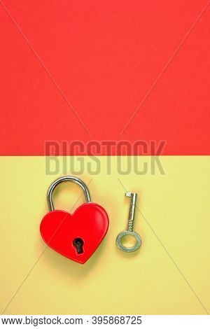 Love And Relationship Concept.heart Locked. Valentine's Day Holiday.lock And Key. Lock Red Heart Sha