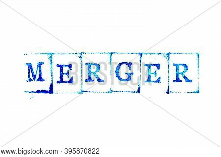 Blue Color Ink Of Rubber Stamp In Word Merger On White Paper Background