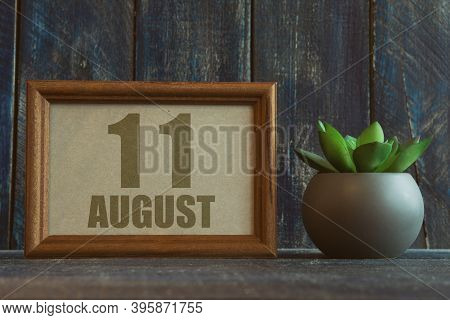 August 11th. Day 11 Of Month, Date In Frame Next To Succulent On Wooden Background Summer Month, Day