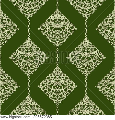 Luxurious Elegant Seamless Pattern. Gold Floral Ornament On A Dark Green Background. Classic Element