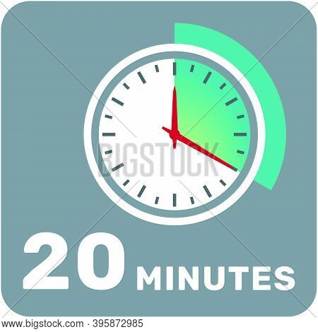 20 Minutes, Analog Clock, Isolated Timer Icon. Vector Illustration, Eps.