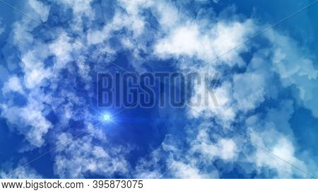Sky Clouds On Background Of Shining Point. Animation. Cosmic Ray Of Light Makes Its Way Through Clou