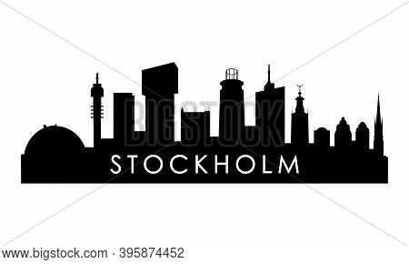 Stockholm Skyline Silhouette. Black Stockholm City Design Isolated On White Background.